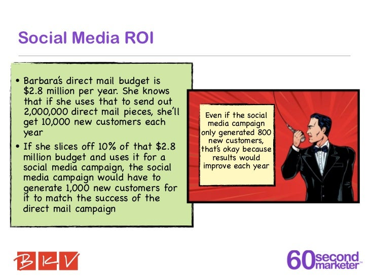 Social Media ROI• Barbara' direct mail budget is           s  $2.8 million per year. She knows  that if she uses that to s...