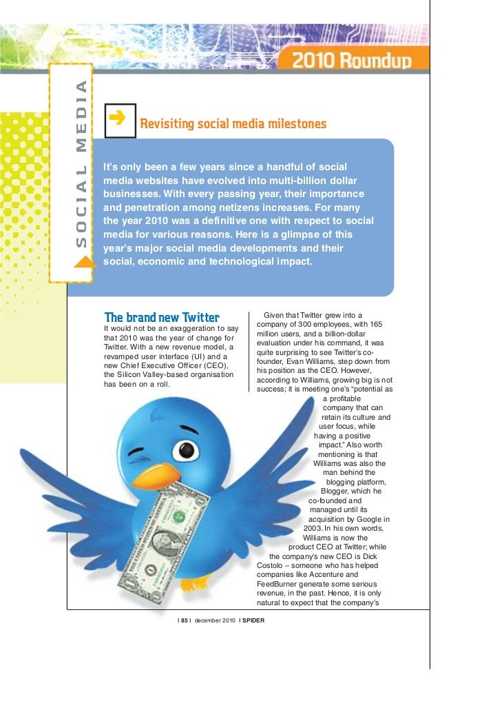 MEDIA                   Revisiting social media milestones         It's only been a few years since a handful of socialSOC...