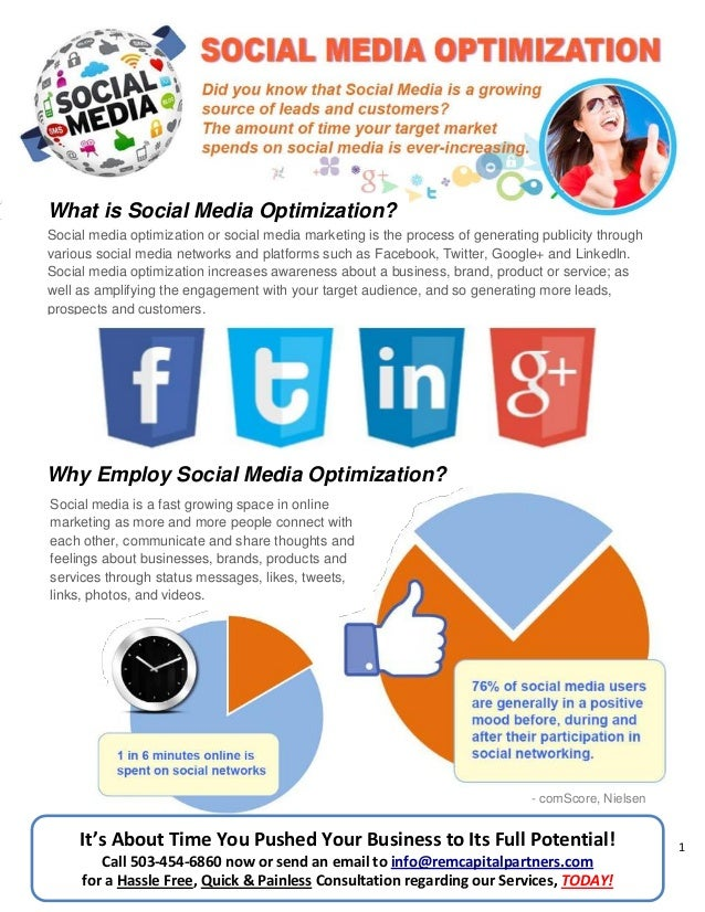 1 What is Social Media Optimization? Why Employ Social Media Optimization? It's About Time You Pushed Your Business to Its...