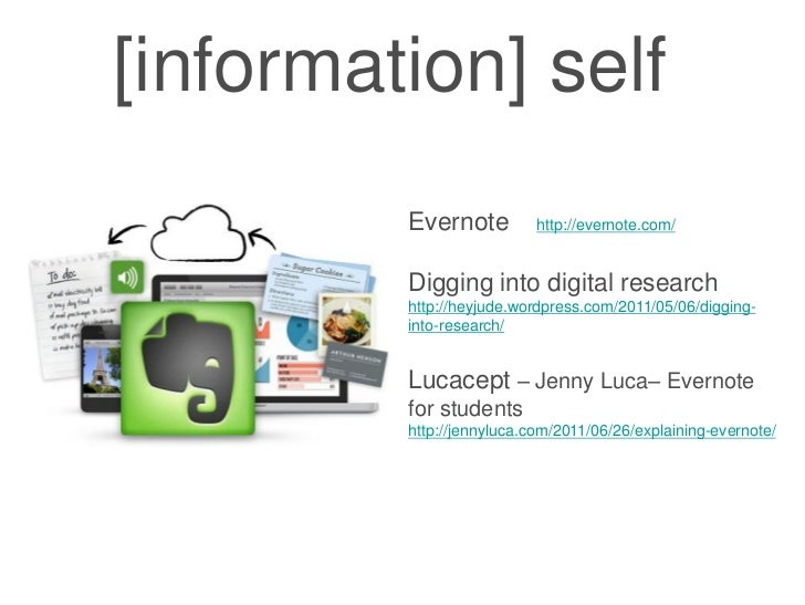 [information] self         Evernote          http://evernote.com/         Digging into digital research         http://hey...