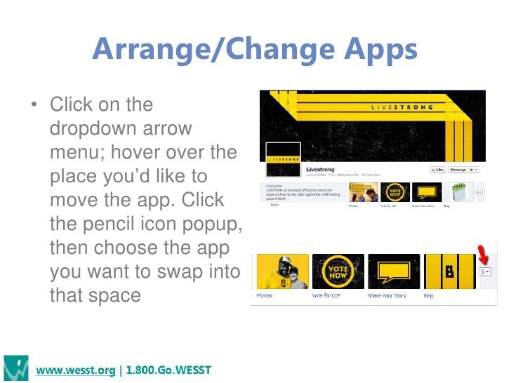 Arrange/Change Apps• Click on the  dropdown arrow  menu; hover over the  place you'd like to  move the app. Click  the pen...