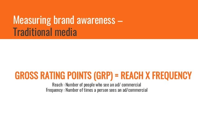 Brand Awareness for Facebook can be tracked by Number of Fans and Reach of the page/posts Measuring brand awareness – Face...