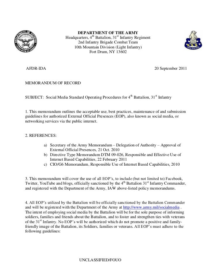 Army standard operating procedures template for Social media policy template for schools