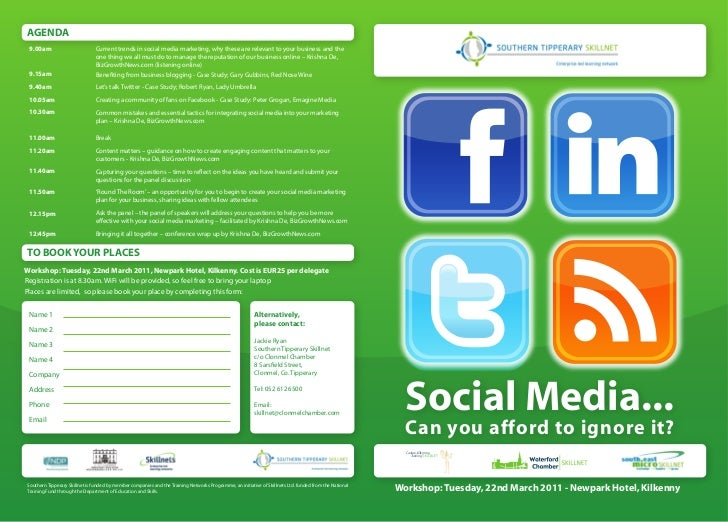 AGENDA 9.00am                         Current trends in social media marketing, why these are relevant to your business an...