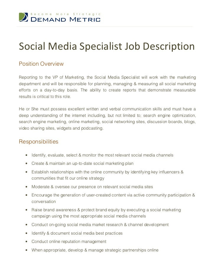 Elegant Social Media Specialist Job DescriptionPosition OverviewReporting To The VP  Of Marketing, The Social Media Specialist ...