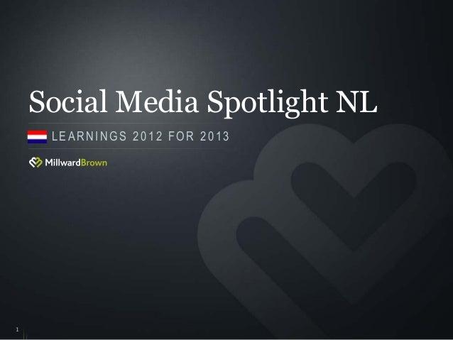 Social Media Spotlight NL     LEARNINGS 2012 FOR 20131