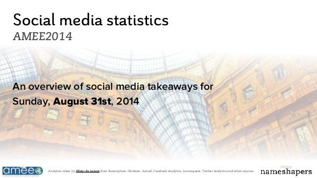 Social media statistics AMEE2014 An overview of social media takeaways for Sunday, August 31st, 2014 Analytics taken by Ol...