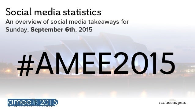 Social media statistics An overview of social media takeaways for Sunday, September 6th, 2015 #AMEE2015