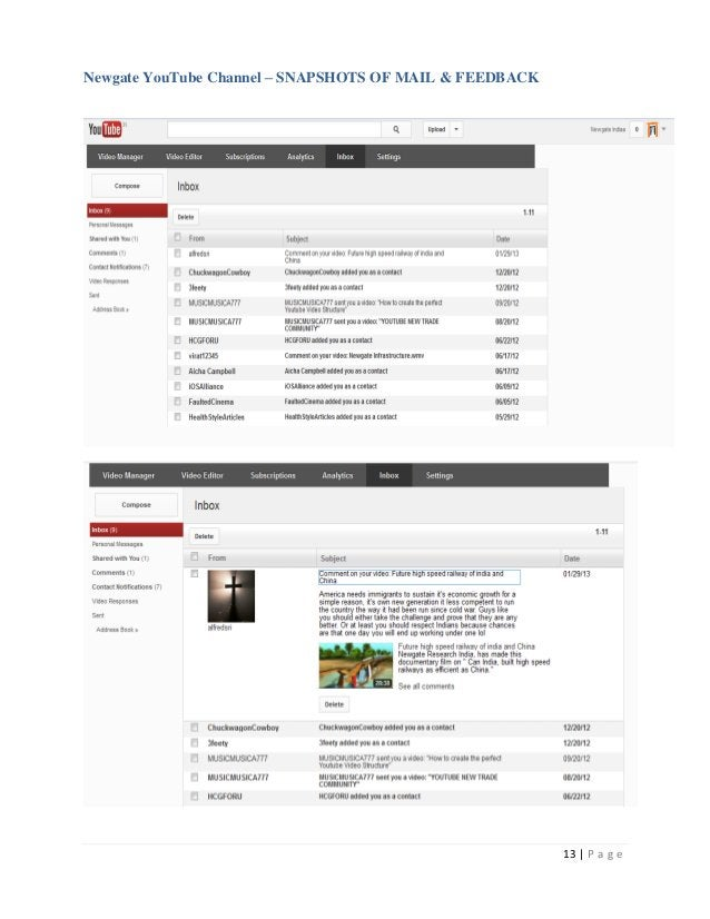 Newgate YouTube Channel – SNAPSHOTS OF MAIL & FEEDBACK                                                         13   P a g e