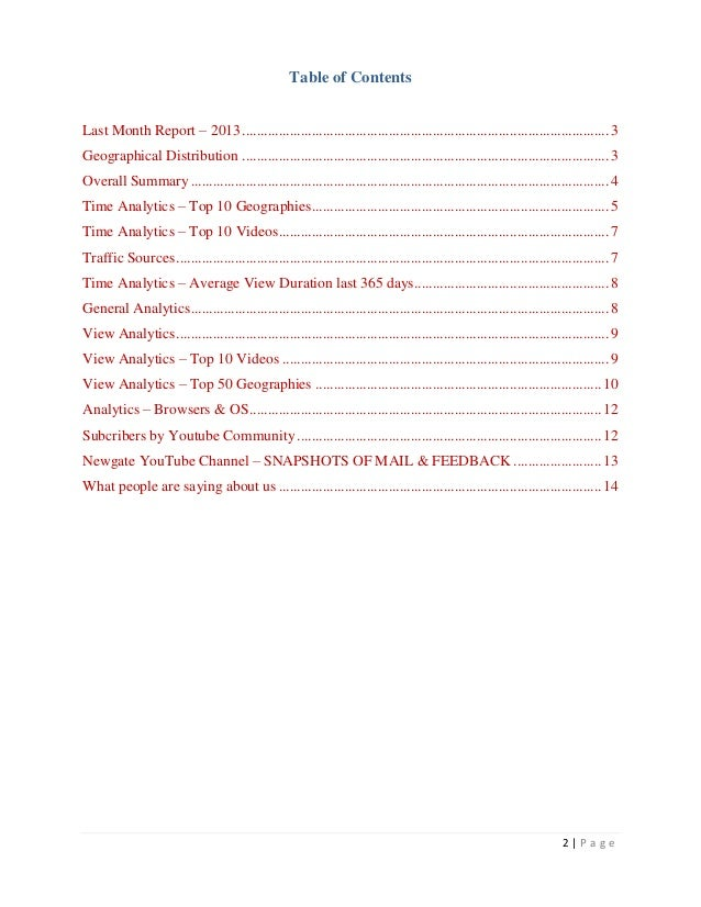 Table of ContentsLast Month Report – 2013 ...................................................................................