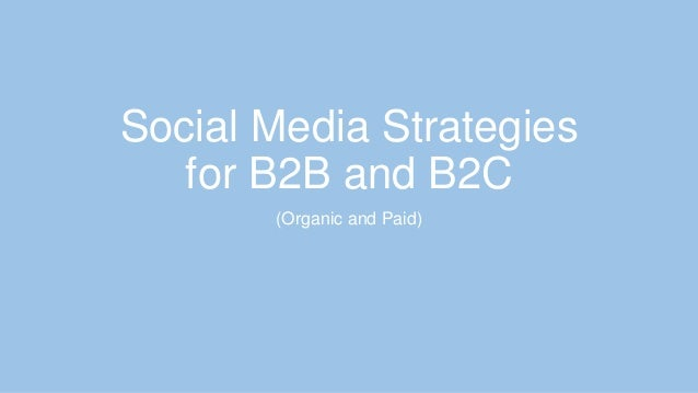 Social Media Strategies for B2B and B2C (Organic and Paid)