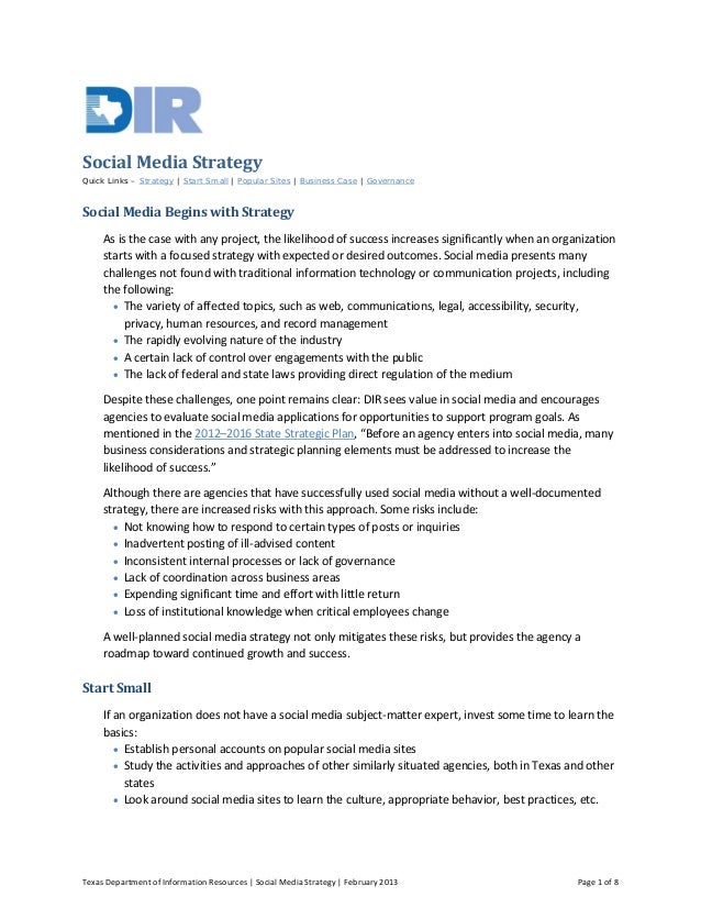 Texas Department of Information Resources | Social Media Strategy | February 2013 Page 1 of 8 Social Media Strategy Quick ...