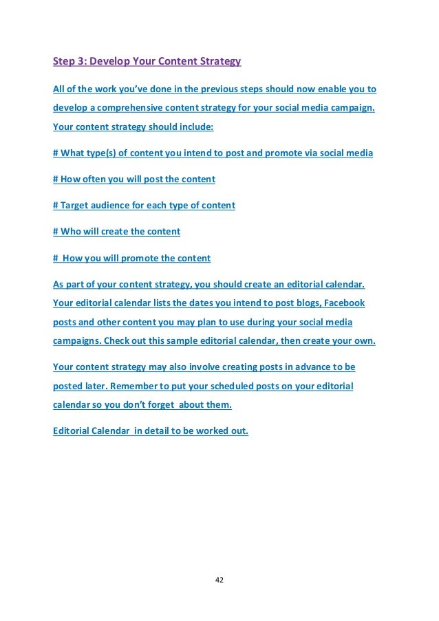 Social Media Strategy  Month Sample Plan