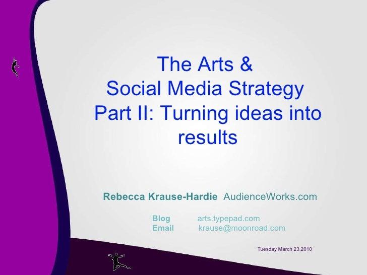 Tuesday March 23,2010 Rebecca Krause-Hardie   AudienceWorks.com   Blog   arts.typepad.com   Email    krause@moonroad.com T...