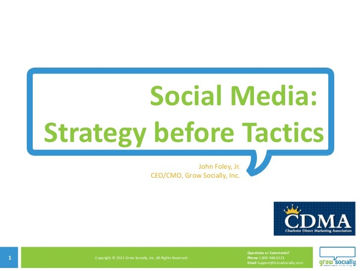 Social Media:  Strategy before Tactics John Foley, Jr. CEO/CMO, Grow Socially, Inc.