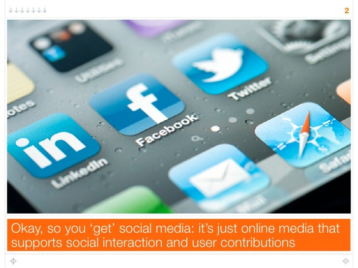 2Okay, so you 'get' social media: it's just online media thatsupports social interaction and user contributions