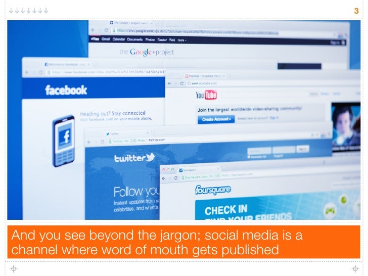 3And you see beyond the jargon; social media is achannel where word of mouth gets published
