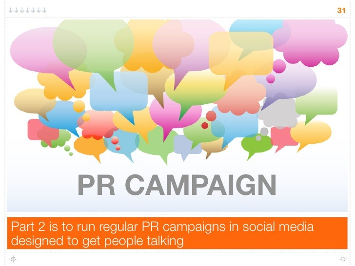 31           PR CAMPAIGNPart 2 is to run regular PR campaigns in social mediadesigned to get people talking