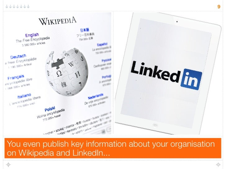 9You even publish key information about your organisationon Wikipedia and LinkedIn...