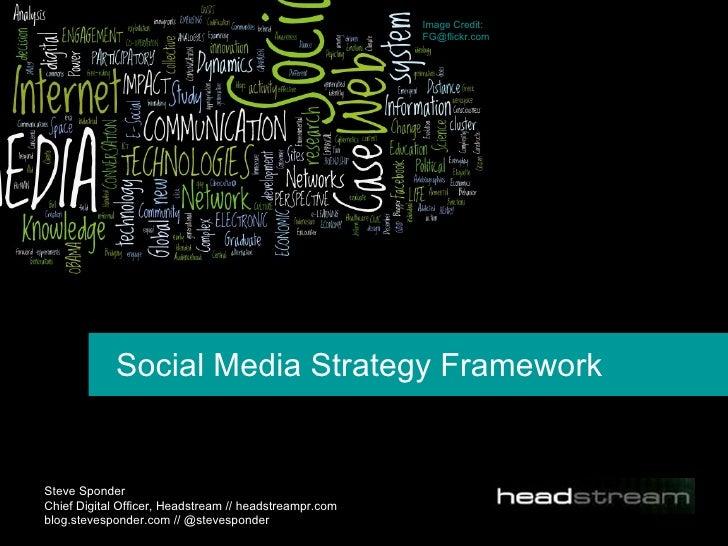 Social Media Strategy Framework Steve Sponder  Chief Digital Officer, Headstream // headstreampr.com blog.stevesponder.com...