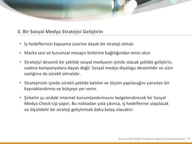 3.  Bir Sosyal Medya Stratejisi Geliştirin <ul><li>İş hedeflerinizi kapsama üzerine dayalı bir strateji olmalı </li></ul><...