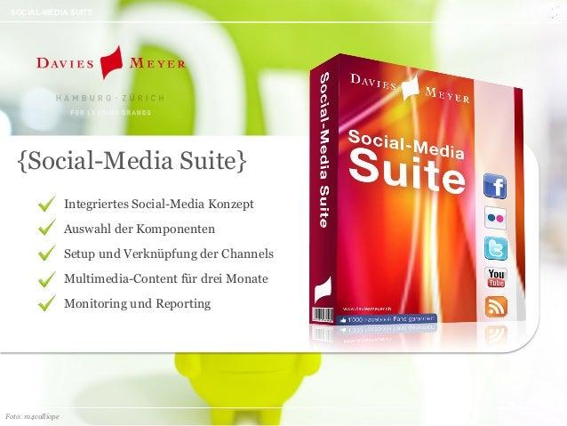 // 1 SOCIAL-MEDIA SUITE Integriertes Social-Media Konzept Auswahl der Komponenten Setup und Verknüpfung der Channels Multi...