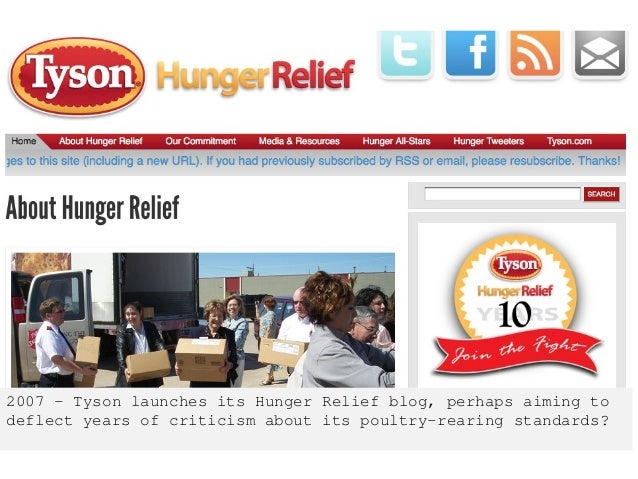 2007 – Tyson launches its Hunger Relief blog, perhaps aiming to deflect years of criticism about its poultry-rearing stand...