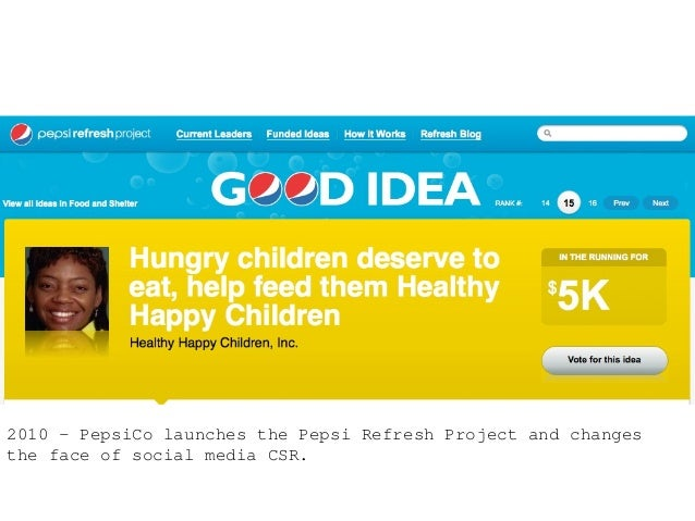2010 – PepsiCo launches the Pepsi Refresh Project and changes the face of social media CSR.