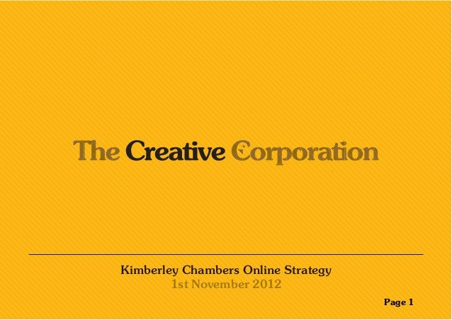Kimberley Chambers Online Strategy 1st November 2012 Page 1