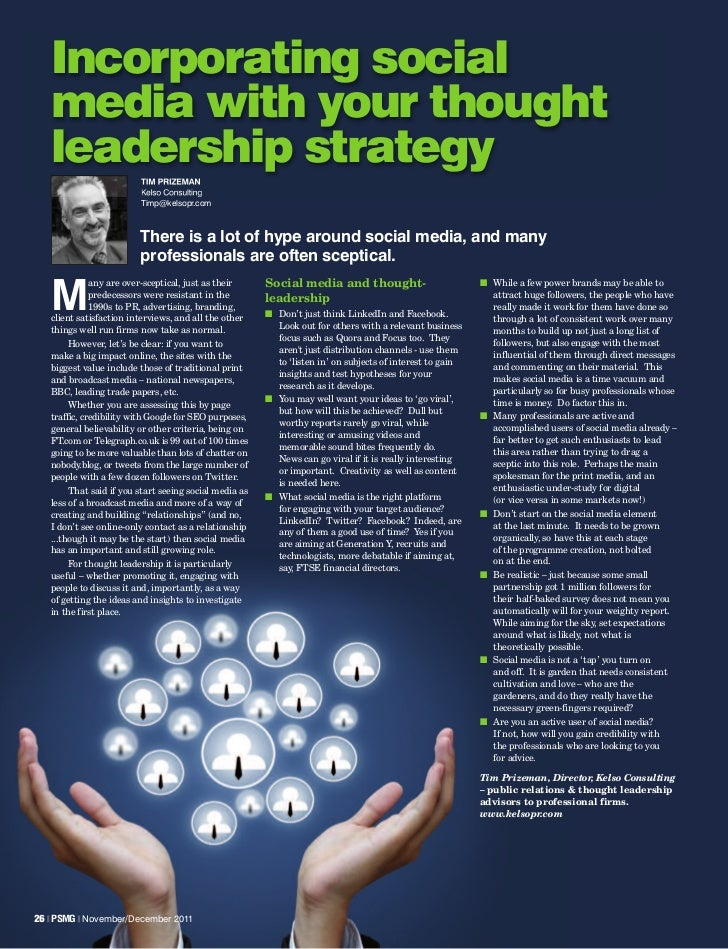 Incorporating social   media with your thought   leadership strategy                         TIM PRIZEMAN                 ...