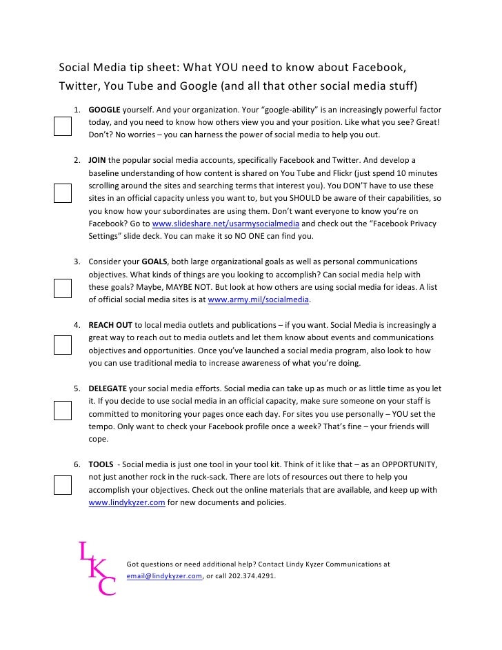 Social Media tip sheet: What YOU need to know about Facebook, Twitter, You Tube and Google (and all that other social medi...