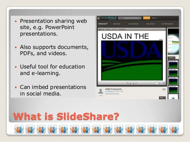    Presentation sharing web    site, e.g. PowerPoint    presentations.   Also supports documents,    PDFs, and videos. ...