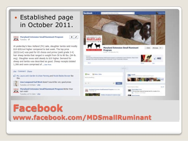    Established page    in October 2011.Facebookwww.facebook.com/MDSmallRuminant