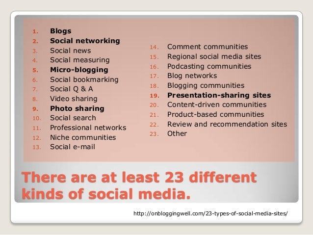 1.    Blogs 2.    Social networking                                    14.    Comment communities 3.    Social news       ...