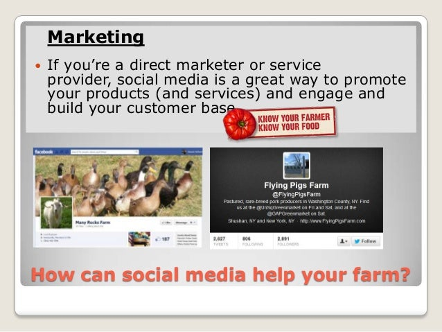 Marketing   If you're a direct marketer or service    provider, social media is a great way to promote    your products (...