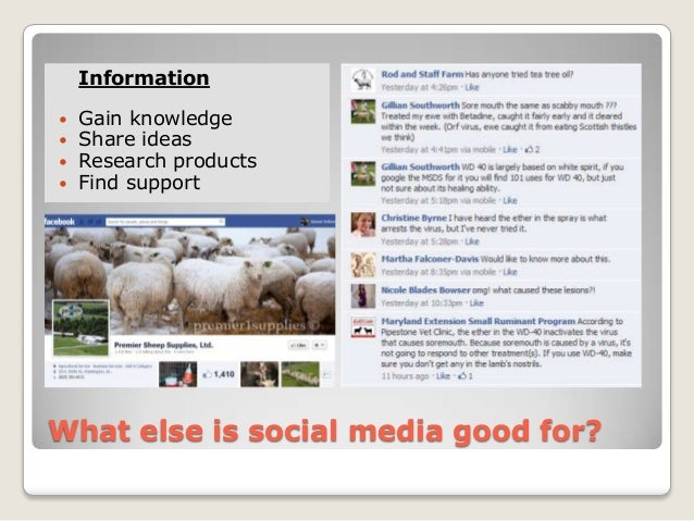 Information   Gain knowledge   Share ideas   Research products   Find supportWhat else is social media good for?