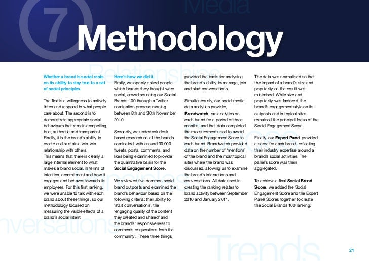 Media    7 Methodology    of social principles.                              Relationships    Whether a brand is social re...