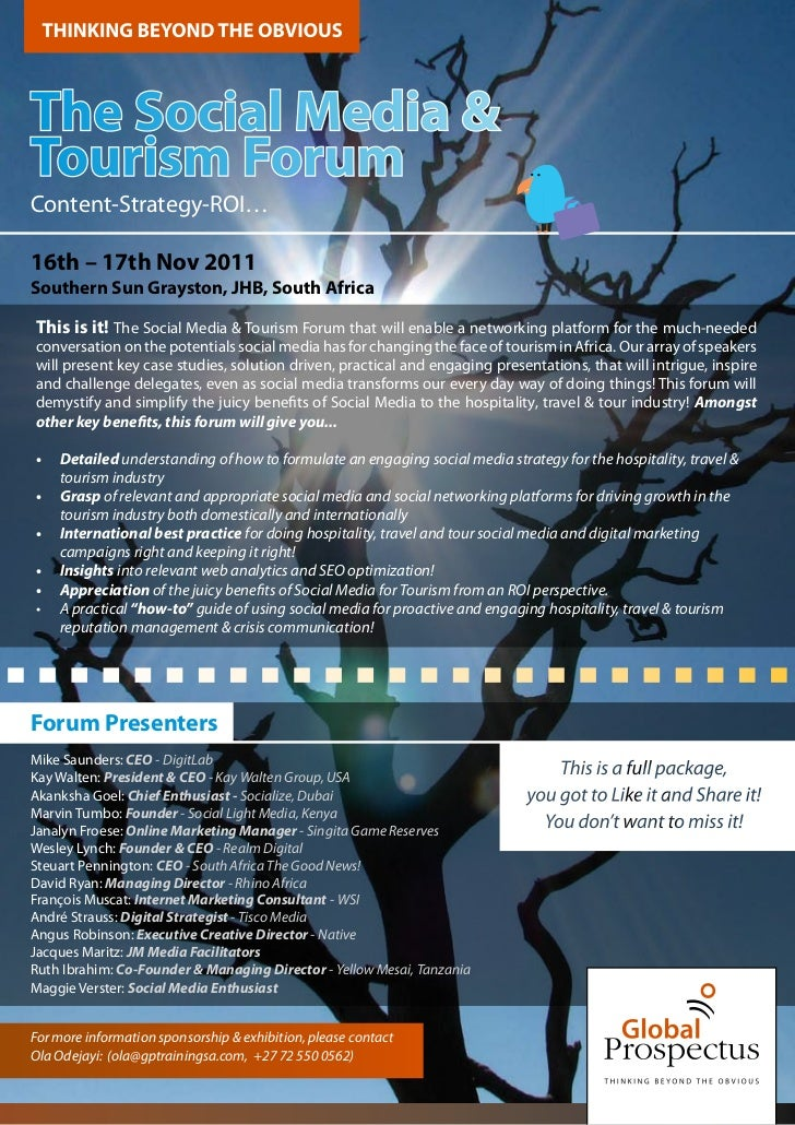 Proudly Endorsed byThe Social Media &Tourism ForumContent-Strategy-ROI…16th – 17th Nov 2011Southern Sun Grayston, JHB, Sou...