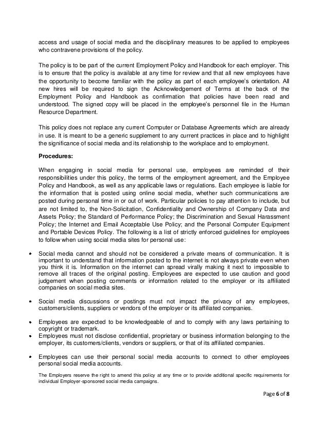 access and usage of social media and the disciplinary measures to be applied to employees who contravene provisions of the...