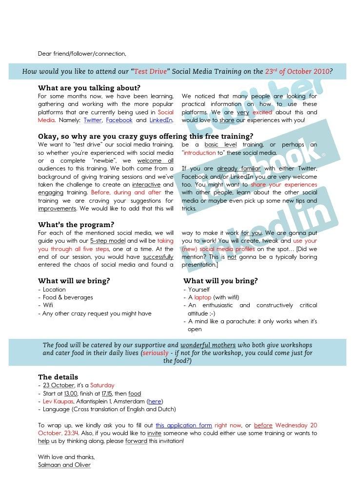 Social Media Training - Test Drive - invitation