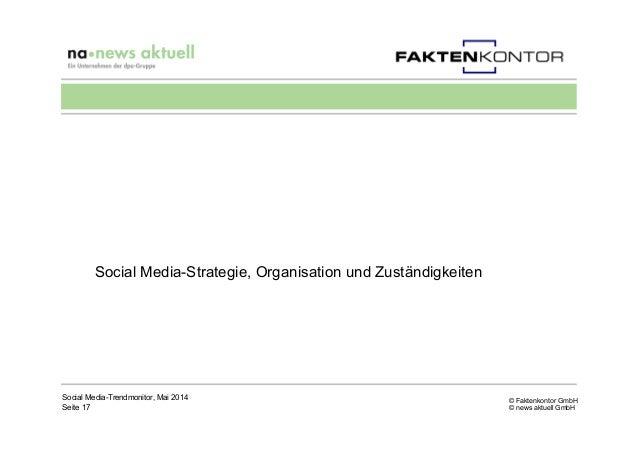 © Faktenkontor GmbH © news aktuell GmbH Social Media-Strategie, Organisation und Zuständigkeiten Social Media-Trendmonitor...