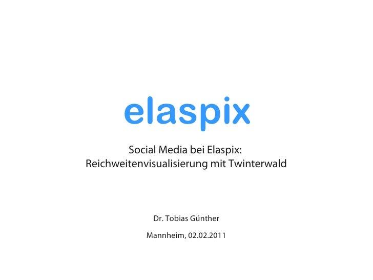 elaspix        Social Media bei Elaspix:Reichweitenvisualisierung mit Twinterwald             Dr. Tobias Günther          ...