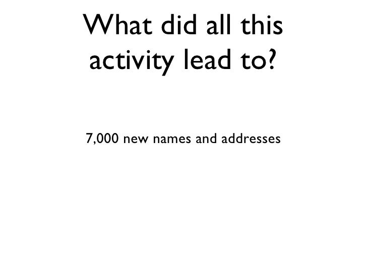 What did all this activity lead to? 7,000 new names and addresses