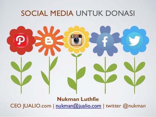 Nukman Luthfie CEO JUALIO.com | nukman@jualio.com | twitter @nukman SOCIAL MEDIA UNTUK DONASI