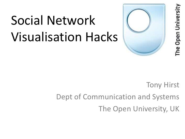 Social NetworkVisualisation Hacks                                Tony Hirst        Dept of Communication and Systems      ...