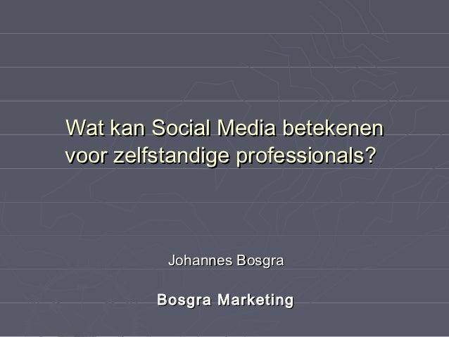 Wat kan Social Media betekenenvoor zelfstandige professionals?          Johannes Bosgra         Bosgra Marketing