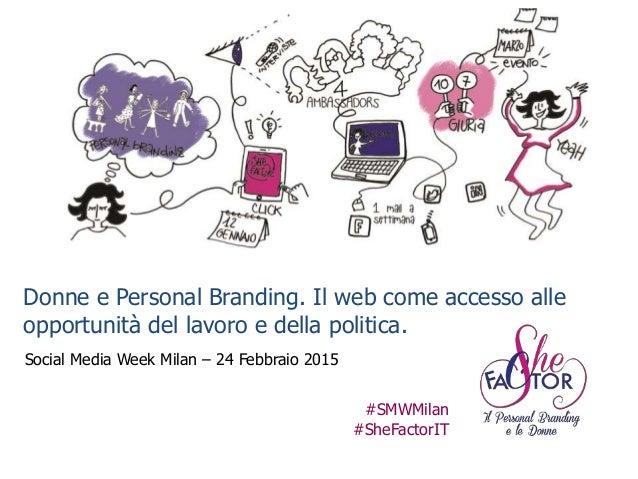 Donne e Personal Branding Donne e Personal Branding. Il web come accesso alle opportunità del lavoro e della politica. Soc...