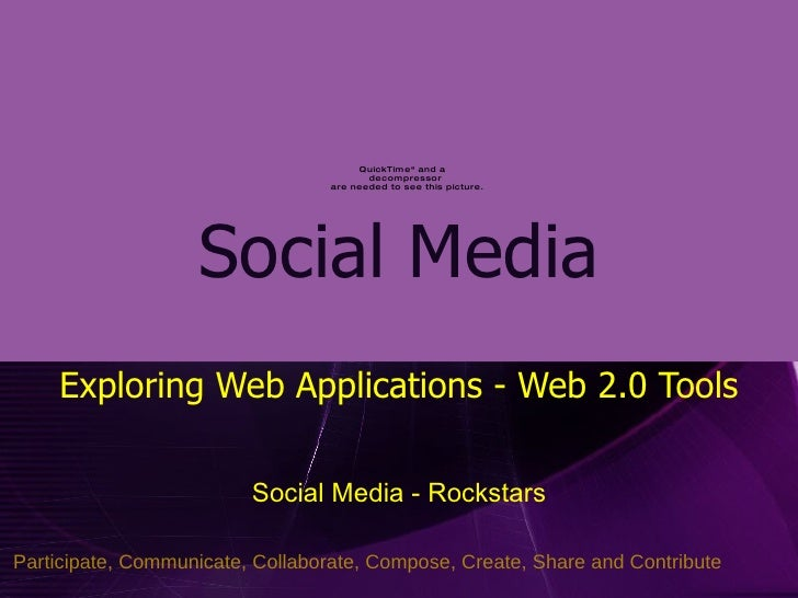 Social Media Exploring Web Applications - Web 2.0 Tools Social Media - Rockstars Participate, Communicate, Collaborate, Co...