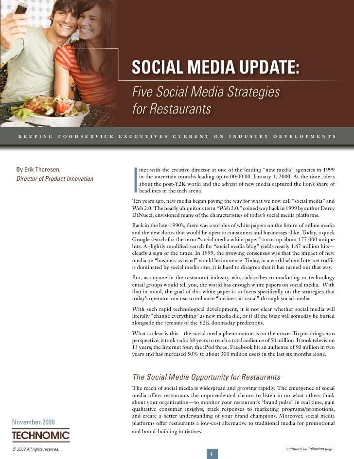 Social Media update: Five Social Media Strategies for Restaurants                                               Social Med...