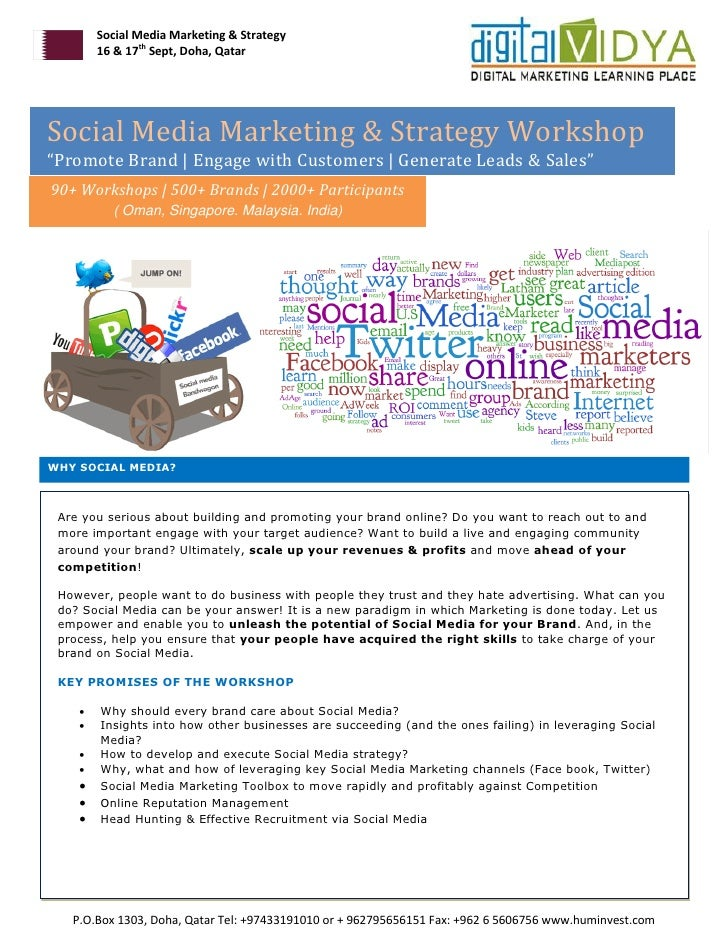 "Social Media Marketing & Strategy        16 & 17th Sept, Doha, QatarSocial Media Marketing & Strategy Workshop""Promote Bra..."